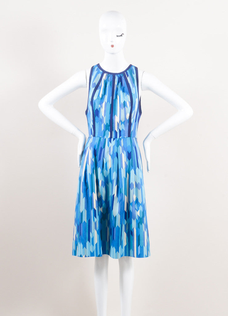 Lela Rose New With Tags Blue and Green Silk Geometric Print Sleeveless A-Line Dress Frontview