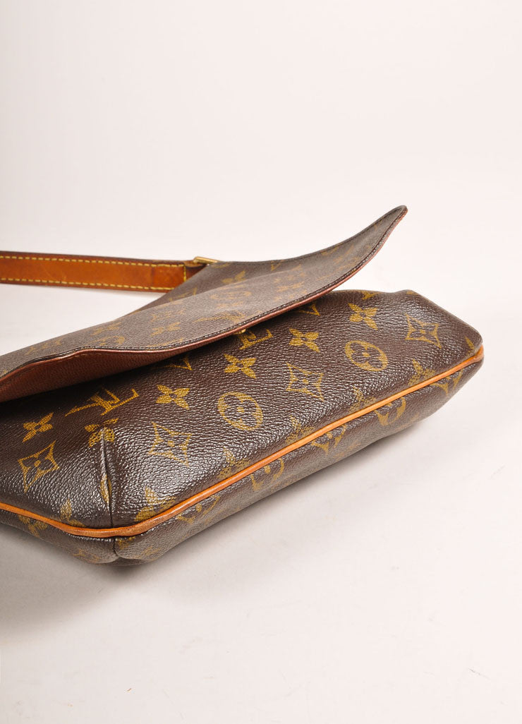 "Louis Vuitton Brown Monogram Coated Canvas ""Musette Tango"" Shoulder Bag Bottom View"