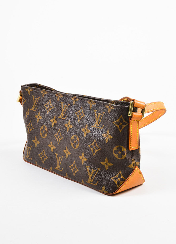 "Louis Vuitton Brown and Tan Coated Canvas Leather Monogram ""Trotteur"" Crossbody Bag Sideview"
