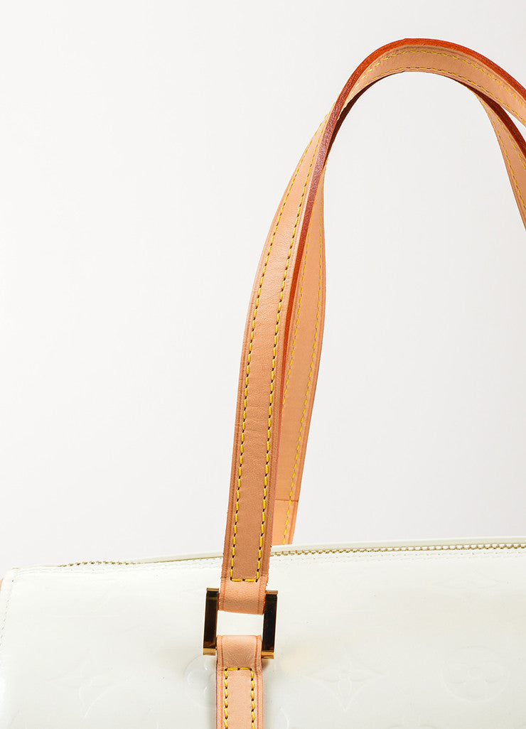 "Louis Vuitton Cream Monogram Vernis Leather ""Bedford"" Duffel Bag Detail 2"