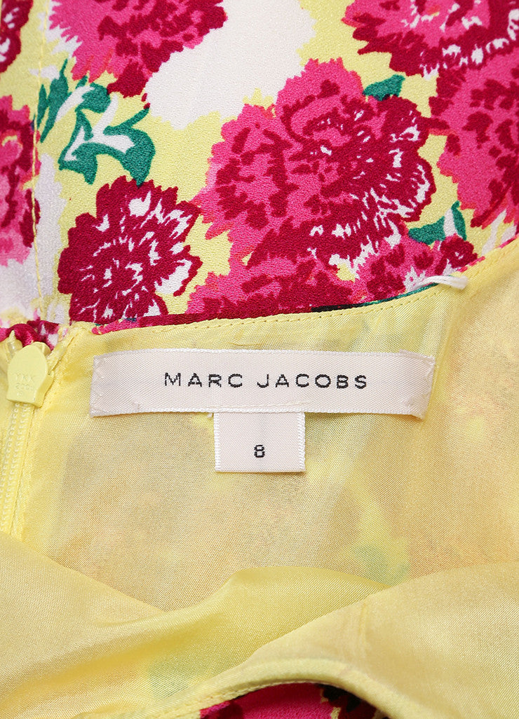 Marc Jacobs New With Tags Yellow and Pink Floral Print Sleeveless Scoop Neck Crepe Dress Brand