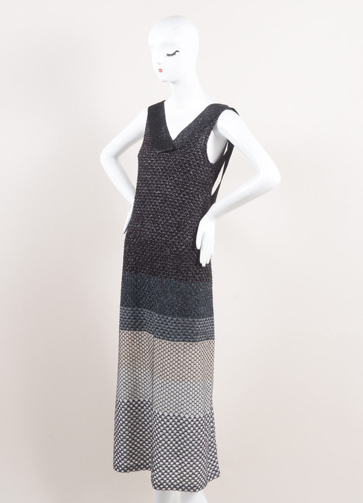 Missoni New With Tags Black, Silver, and White Metallic Knit Sleeveless Maxi Dress Sideview