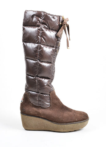 Brown Moncler Suede Nylon Puffer Knee High Wedge Heel Zip Tie Boots Sideview