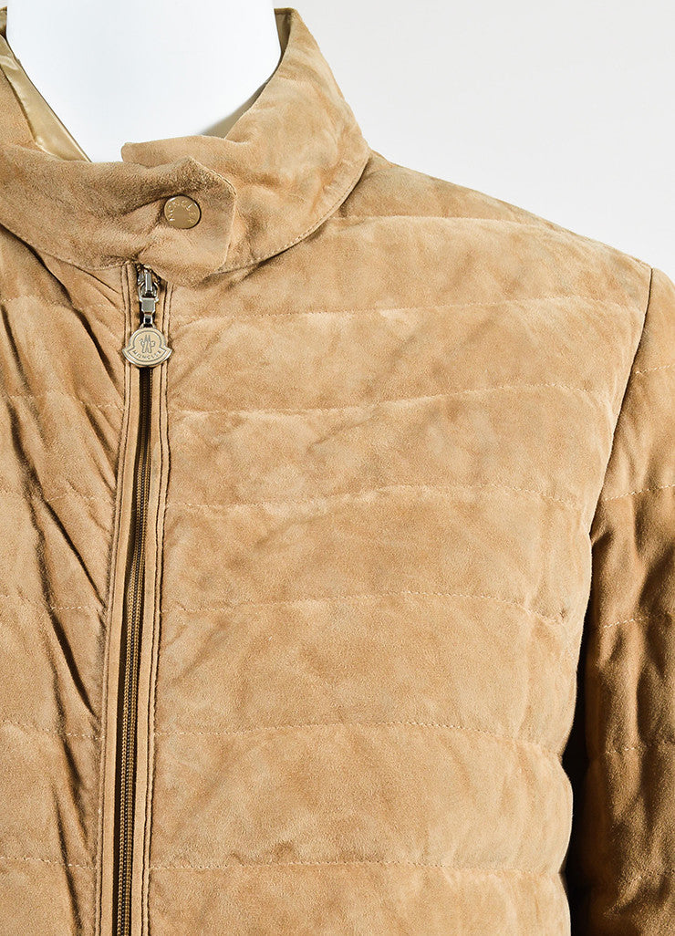 Moncler Tan Suede Down Quilted Puffer Coat Detail