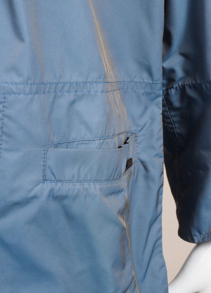 Moorer New With Tags Blue Hooded Rain Coat Detail