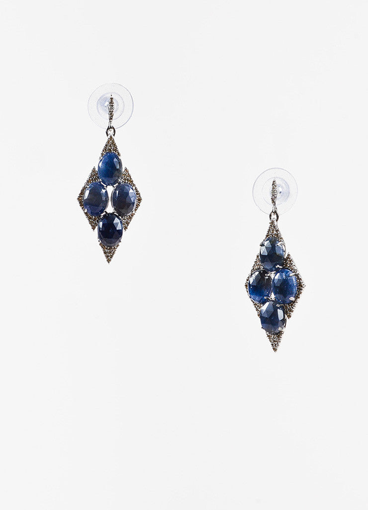 18K White Gold Sapphire Diamond Embellished Marquise Drop Earrings Frontview