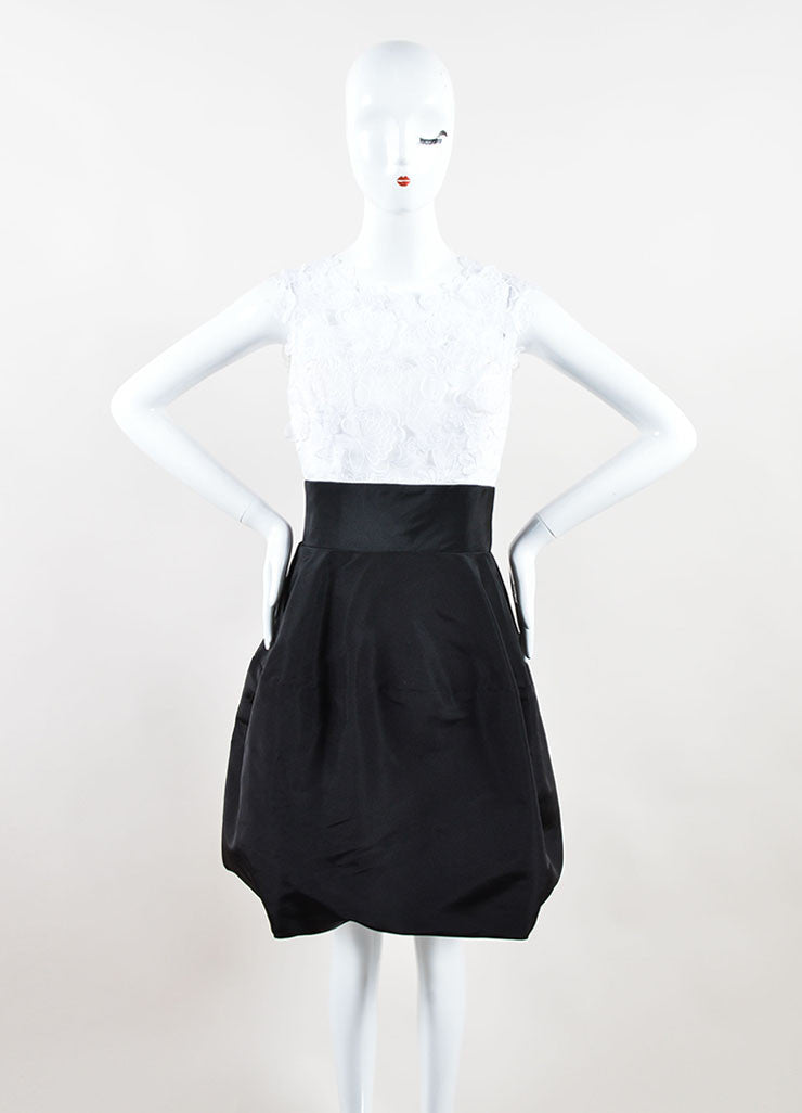 Oscar de la Renta Black and White Lace Overlay Silk Faille Dress Frontview