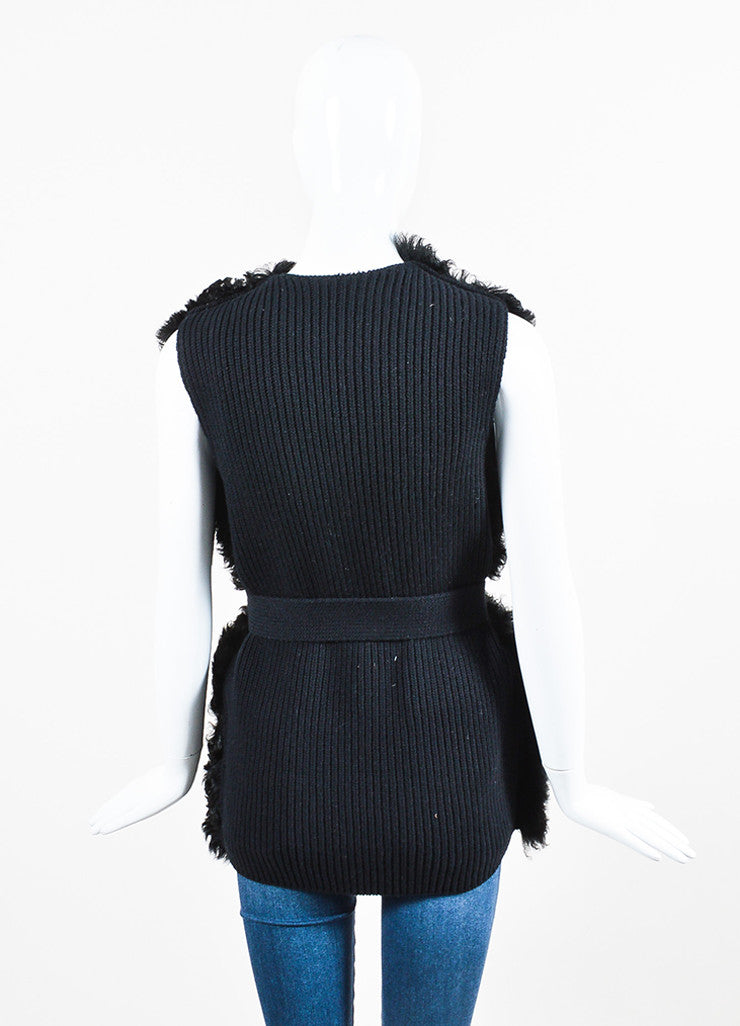 Prada Black Sheep Fur and Wool Knit Belted Vest Backview