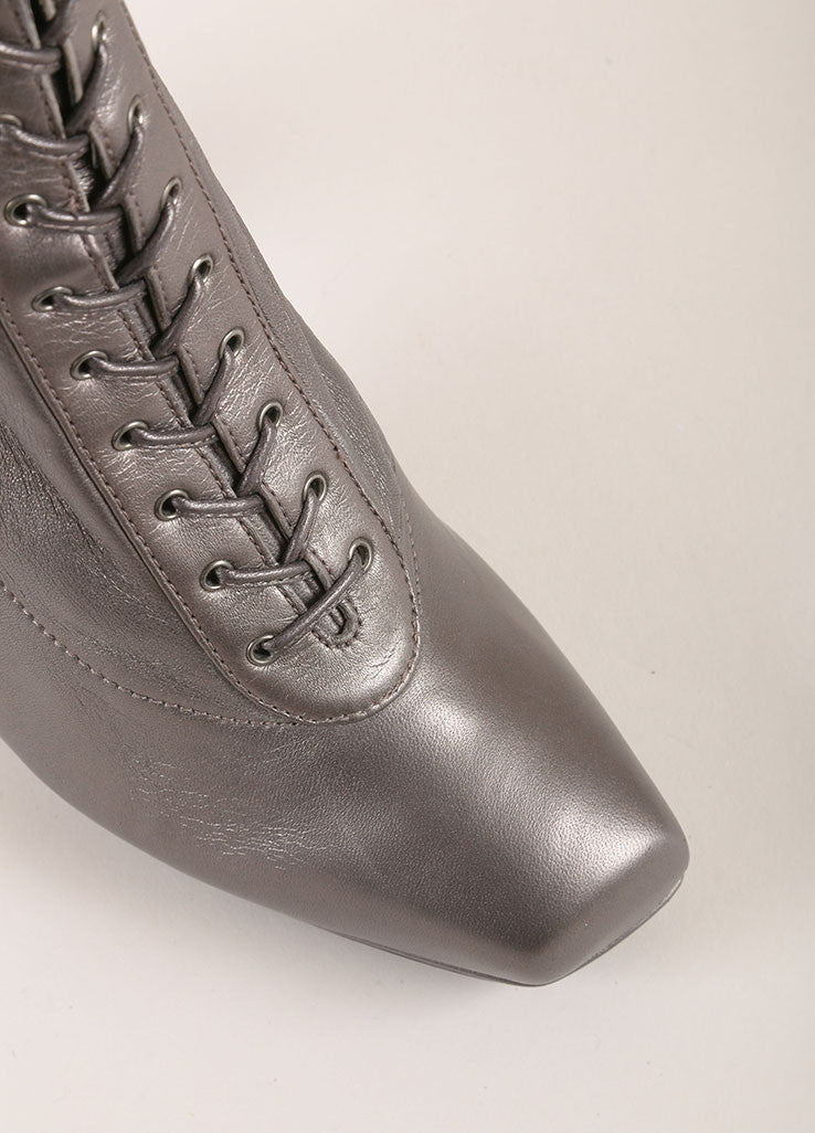 Prada Grey Metallic Leather Lace Up Square Toe Heeled Ankle Boots Detail