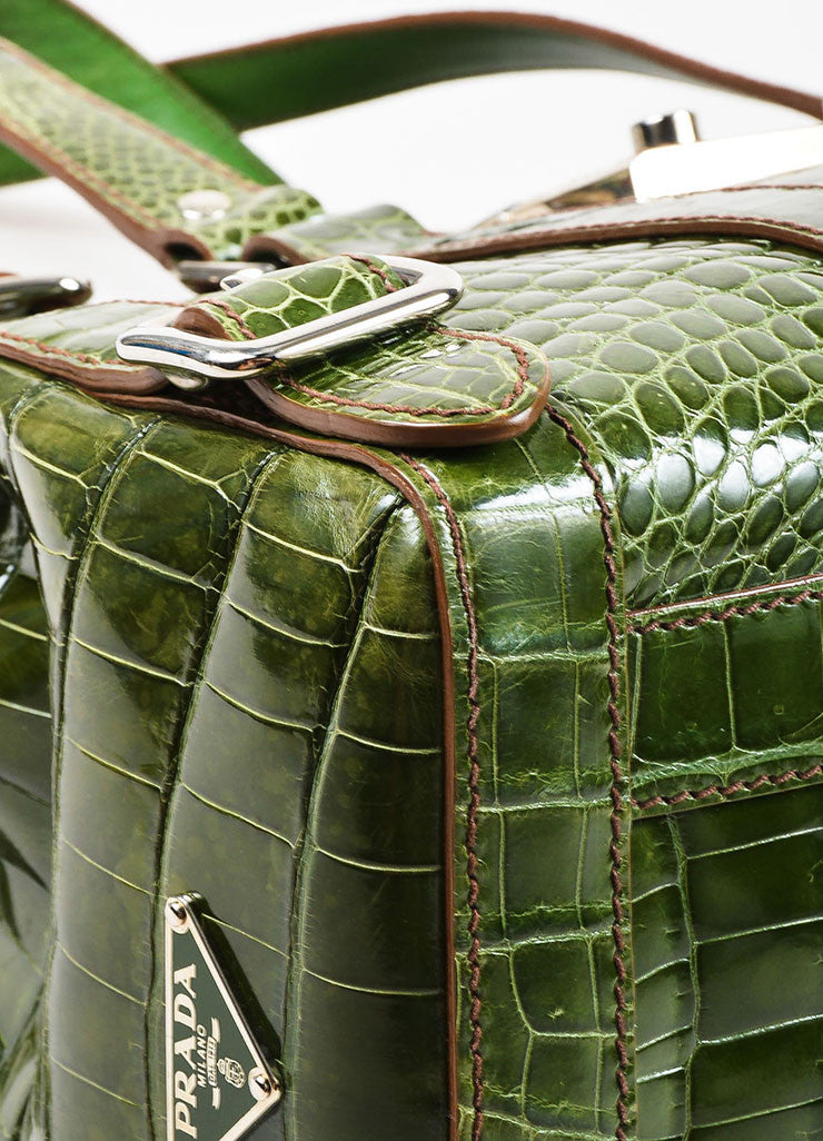 "Prada Green Genuine Crocodile ""Lucido Lock Flap"" Satchel Shoulder Bag Detail"