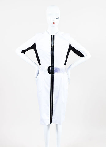 Black and White Proenza Schouler Cotton Color Block Zipped Belted Short Sleeve Dress Frontview