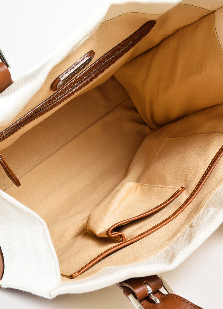 Ralph Lauren Brown and Tan Canvas and Leather Panel Tote Bag Interior