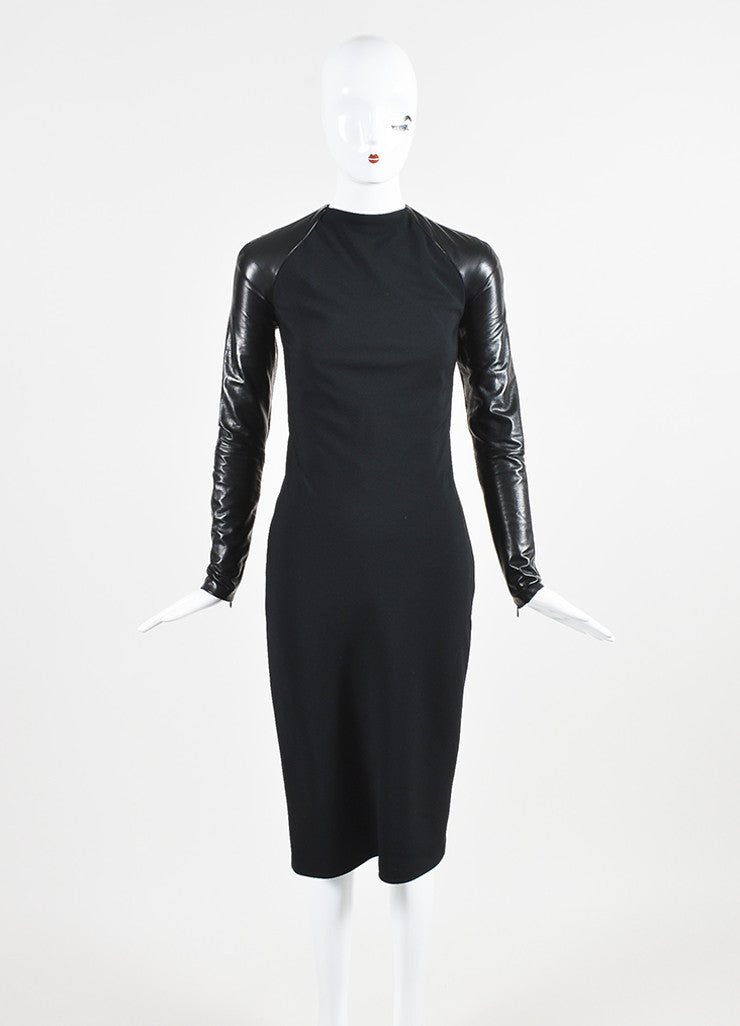 "Ralph Lauren Collection Black Wool Leather Midi ""Megan"" Dress Frontview"