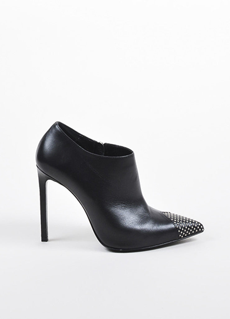 Black Saint Laurent Leather Pointed Studded Cap Toe Stiletto Ankle Booties Sideview