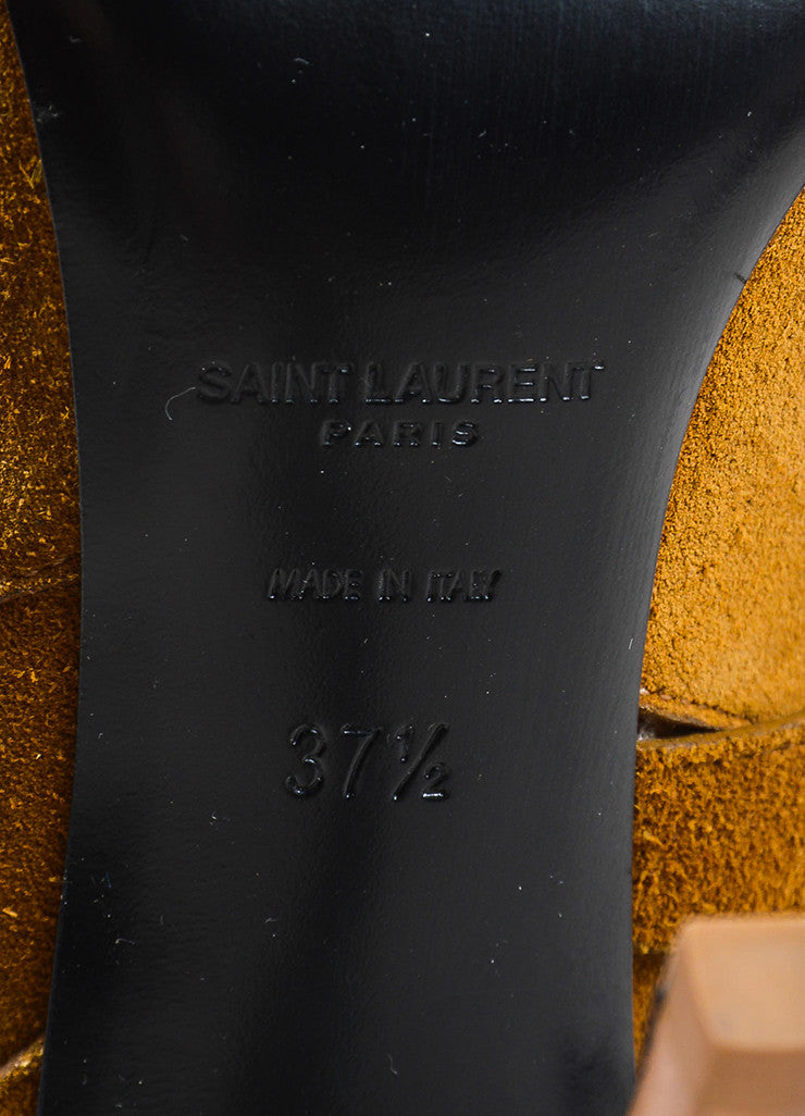 Saint Laurent Tan Suede Leather Pointed Toe Stiletto Wrap Ankle Boots Brand