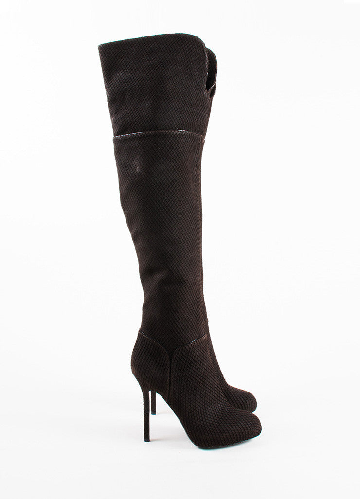 Sergio Rossi Brown Snakeskin Style Suede Heeled Over the Knee Boots Sideview