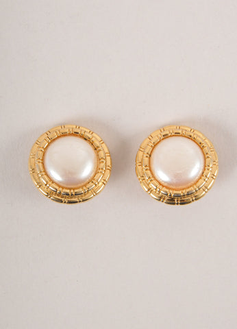 St. John Gold Toned and Faux Pearl Button Earrings Frontview