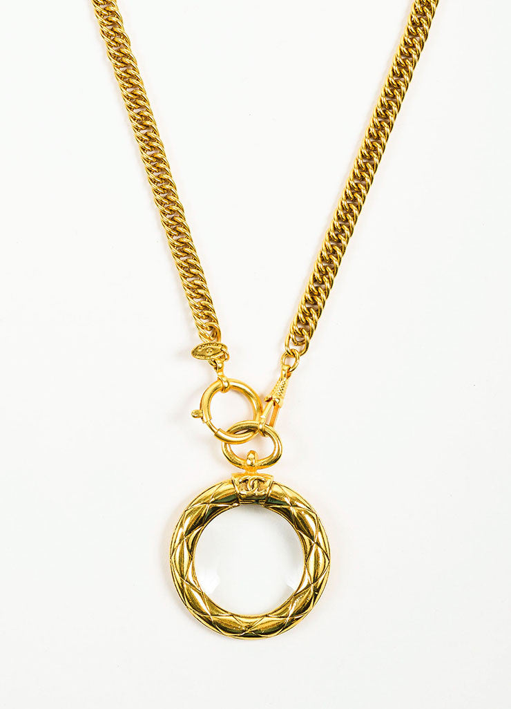 Gold Toned Chanel Magnifying Glass Pendant Necklace Detail