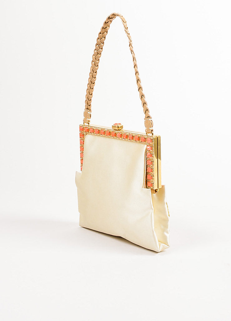 Valentino Cream, Orange, and Beige Satin Rhinestone Embellished Mini Handbag Sideview