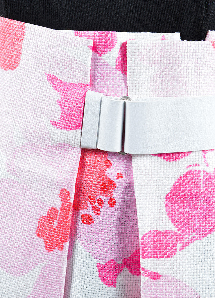 Victoria Beckham White and Pink Woven Raffia Floral Belted Skirt Detail
