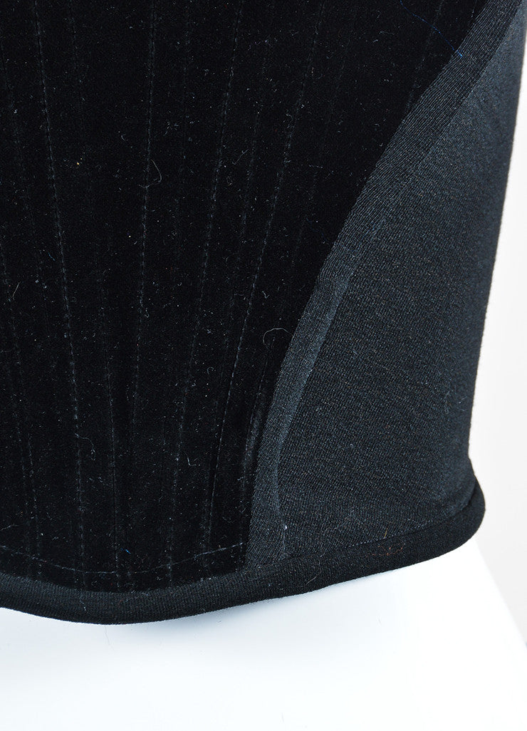 Black Vivienne Westwood Velvet and Wool Stretch Knit Side Panels Sleeveless Corset Top Detail