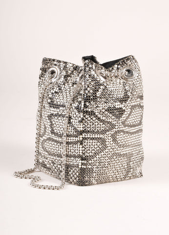 Whiting and Davis White and Black Mesh Snakeskin Print Chain Mini Pouch Shoulder Bag Sideview