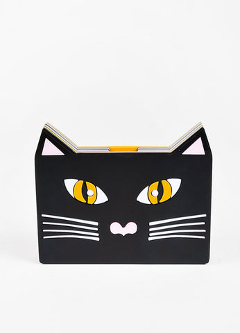 Yazbukey Black White Yellow Cat Box Clutch Front
