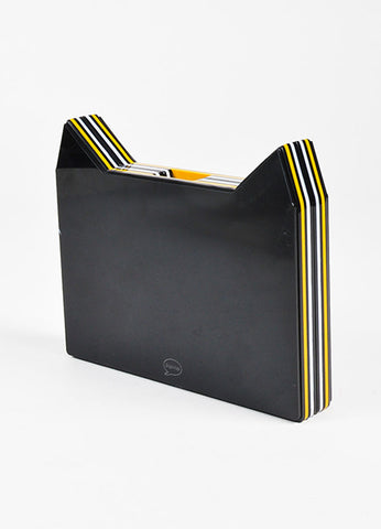Yazbukey Black White Yellow Cat Box Clutch Back