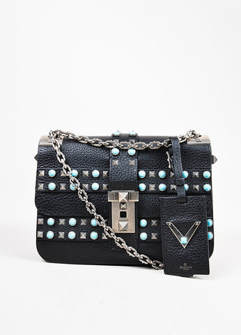 "Valentino Black Silver Tone Leather ""Rockstud Rolling"" Flap Bag Front"
