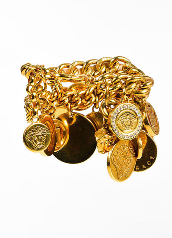Versace Gold Tone Metal Statement Charm Bracelet Back