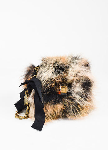 "Lanvin Brown Fox Fur ""Mini Pop"" Shoulder Bag Front"