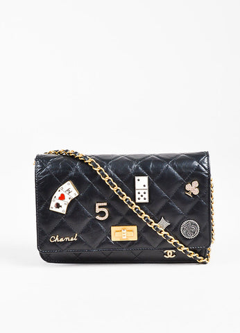 "Chanel Black Leather Quilted ""Lucky Charms Reissue"" Wallet On Chain Frontview"