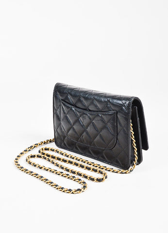 "Chanel Black Leather Quilted ""Lucky Charms Reissue"" Wallet On Chain Sideview"