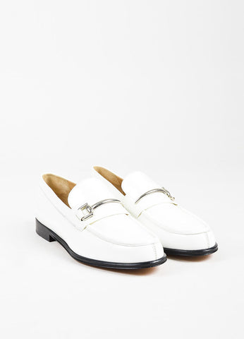 Gucci White and Black Leather Silver Toned Horsebit Loafers Frontview
