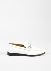 Gucci White and Black Leather Silver Toned Horsebit Loafers Sideview