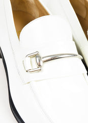Gucci White and Black Leather Silver Toned Horsebit Loafers Detail