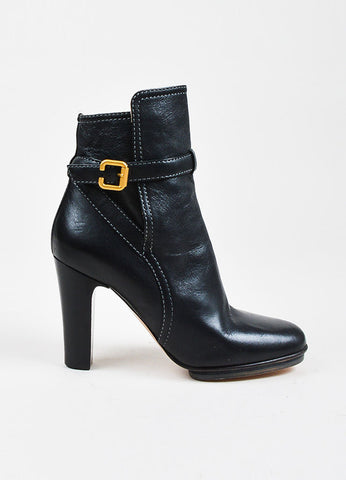 Chloe Black Leather Buckled Round Toe Platform Chunky Heel Ankle Boots Sideview