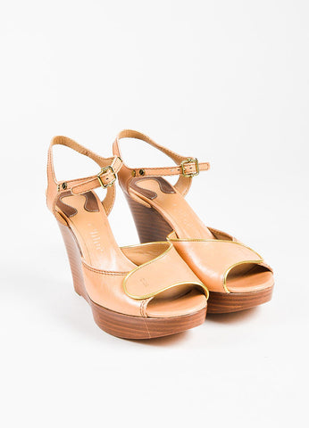 Chloe Beige Gold Trim Peep Toe Wedge Sandals Front
