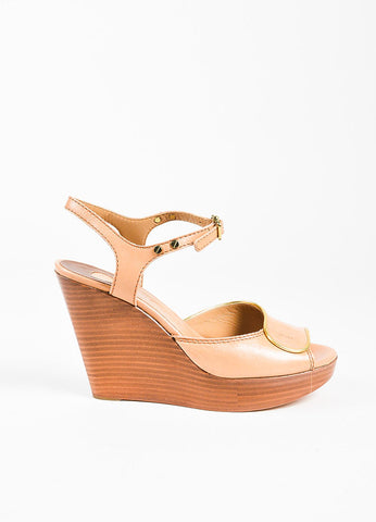 Chloe Beige Gold Trim Peep Toe Wedge Sandals Side