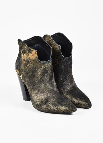 "Sigerson Morrison Black and Metallic Gold Ponyhair ""Vesta"" Ankle Boots Frontview"