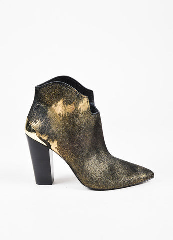 "Sigerson Morrison Black and Metallic Gold Ponyhair ""Vesta"" Ankle Boots Sideview"