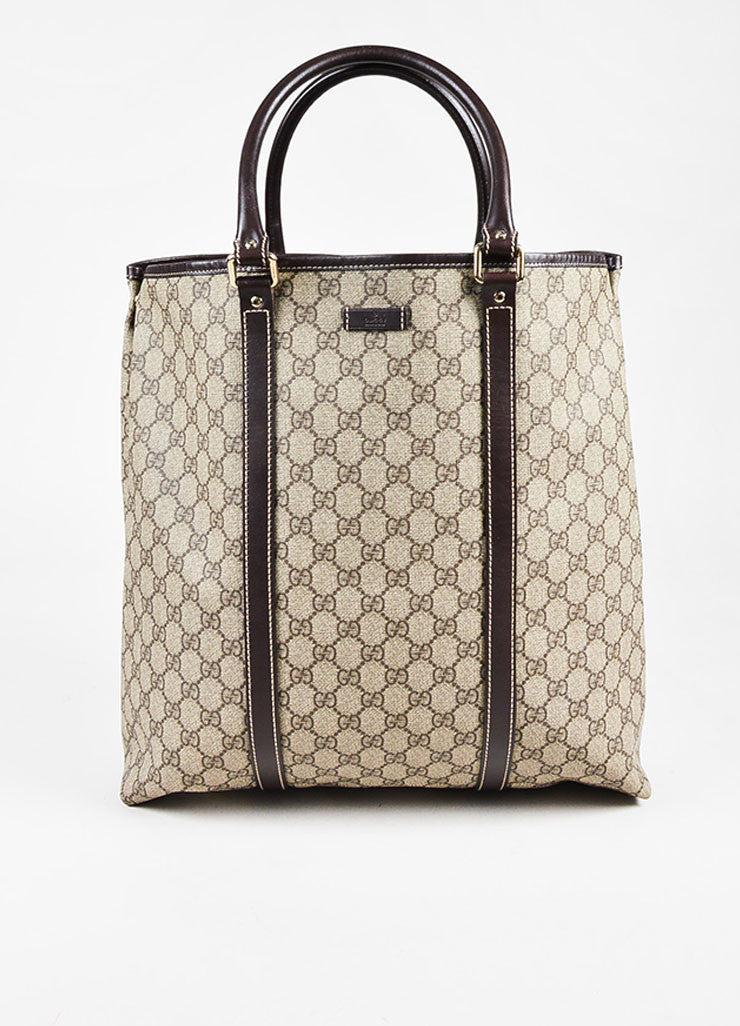 "Gucci Beige and Brown Coated Canvas Leather Trim ""GG Plus Tote"" Bag Frontview"