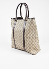 "Gucci Beige and Brown Coated Canvas Leather Trim ""GG Plus Tote"" Bag Sideview"