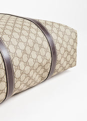 "Gucci Beige and Brown Coated Canvas Leather Trim ""GG Plus Tote"" Bag Bottom View"
