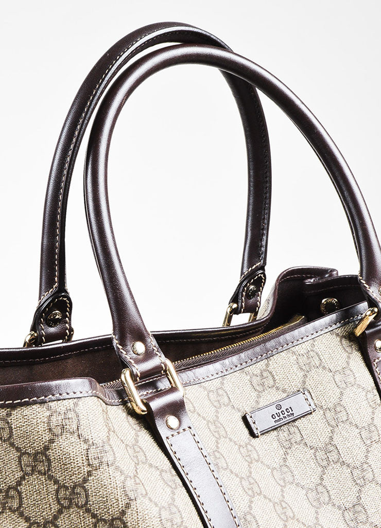 "Gucci Beige and Brown Coated Canvas Leather Trim ""GG Plus Tote"" Bag Detail 2"
