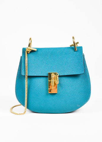 "Chloe Blue Pebbled Lambskin Leather Gold Tone ""Small Drew"" Bag Front"