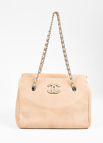 "Chanel Dark Beige Leather Quilted 'CC' ""Hampton"" Chain Link Shoulder Bag Frontview"