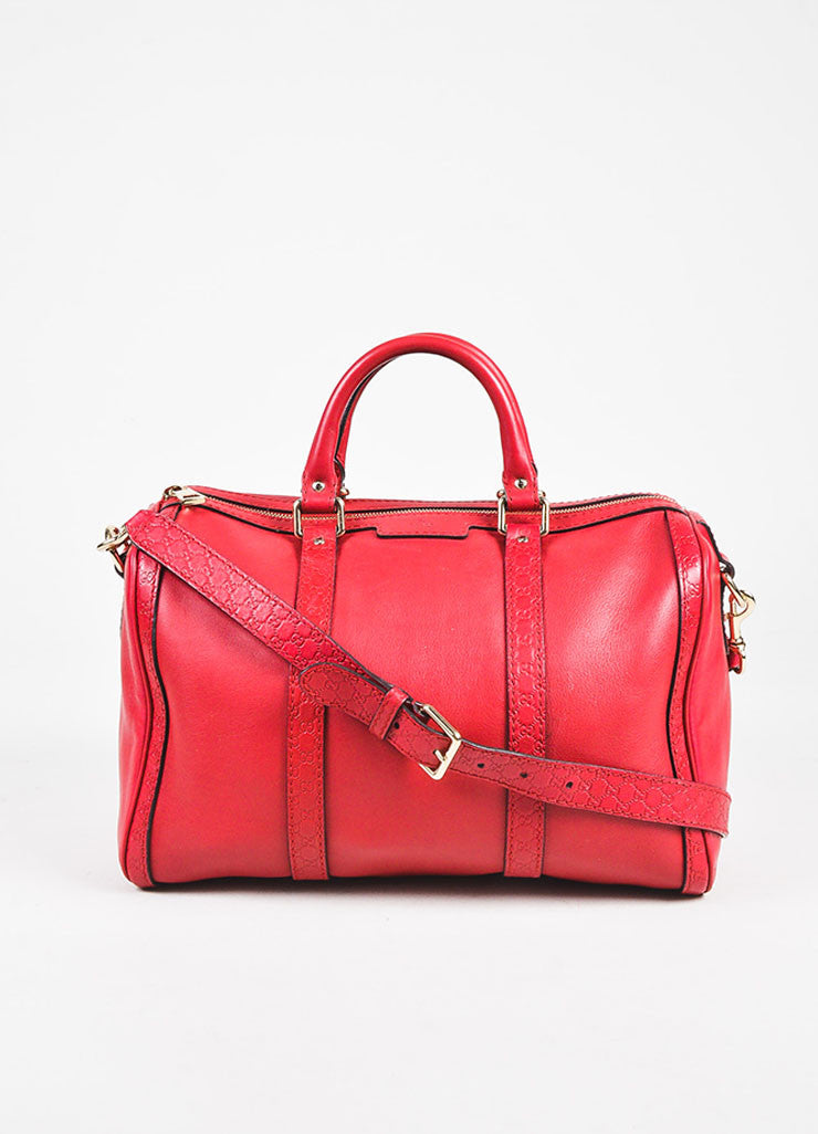 "Gucci Red Leather Guccissima Trim ""Boston"" Satchel Bag Frontview"