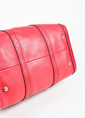 "Gucci Red Leather Guccissima Trim ""Boston"" Satchel Bag Bottom View"