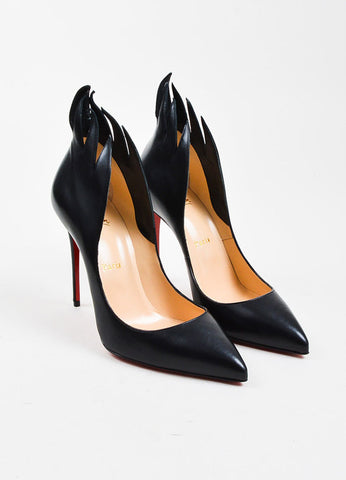 "Christian Louboutin Black Leather ""Victorina"" 100mm Stiletto Pumps  Frontview"